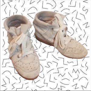 ISABEL MARANT Bobby Hidden Wedge Sneakers Cream